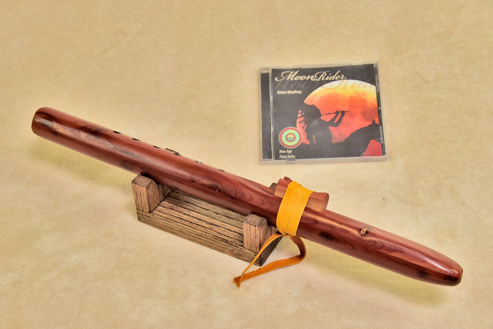 Windpony Cedar Flute in the Key of A with Rack + FREE Flute CD