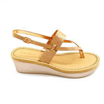 Bamboo Womens Makeup-12 Thong Wedge Platform Slingback Sandals Rose Gold 10M New - $32.66