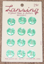 """BUTTONS LANSING 12 BLUE PLASTIC BUTTONS SIZE 20 #8563 1/2"""" VINTAGE MADE ... - $3.00"""