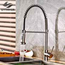 Uythner Brushed Nickle Spring Kitchen Faucet Mixer Tap Single Handle Single Hole - $99.95