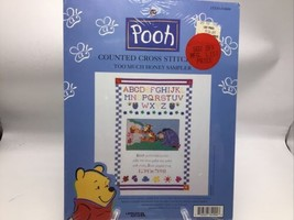 Winnie the Pooh Counted Cross Stitch Kit 34004 Sampler Too Much Honey 17x11 New  - $22.24