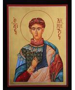 Saint Demetrios Greek Orthodox Icon, Byzantine Icon, handmade original a... - $220.00
