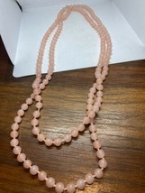 Vintage Pink Chalcedon 60 nch Necklace Jumprope Beaded - $75.24