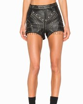 Studded Women Leather Shorts