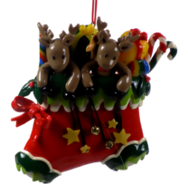 Dough Style Christmas Ornament Deer in Christmas Stocking #53 - $5.95