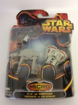 Star Wars AT-AT & Snowspeeder Micro Vehicles w/Snowtrooper & Luke Skywal... - $12.86
