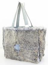 Authentic CHANEL CC Blue Suede Fur Hand Tote Ba... - $349.00