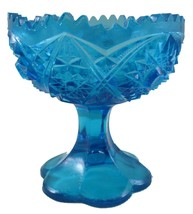 Midcentury Modern Kemple Wheaton Glass Blue Candy Footed Pedestal Trinke... - $49.50