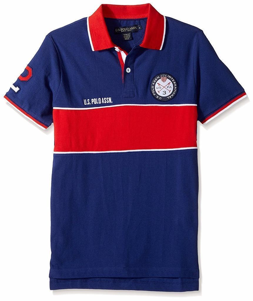 US Polo Assn Men's Slim Fit Color Block Short Sleeve Pique Polo Shirt 11830988