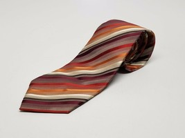 Van Heusen Stain Resistant Mens Dress Neck Tie Red & Orange Blk Diagonal... - $12.32