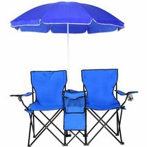 Double Portable Folding Picnic Chair W/Umbrella Table Foldable Folding D... - $74.64