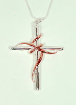 Elegant Silver/Gold Twisted Rope Cross Pendant Necklace. - $19.95