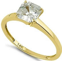 Engagement Ring Solid 14K Yellow Gold Asscher 6.5mm Clear CZ-1.60ctw-Size 6-NWT - $187.09