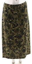 Denim & Co Printed Knit Pull-On Skirt Olive L NEW A269370 - $22.75