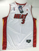 "Dwyane Wade #3 Miami Heat adidas Jersey White Red Size 54 +2"" - $128.69"