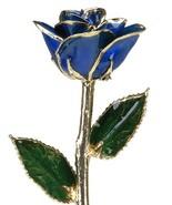 Allmygold Jewelers Sapphire Blue Laquered Platinum Long Stem Genuine Ros... - $79.22