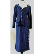Tofy Skirt Suit Size 18 Blue Pinstripe White Collar Cuffs Career Vintage... - $29.65