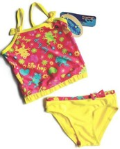 Girls 2T Frog Tankini Swimsuit w/ Bow & Ruffle Pink Toddler Two Piece - $14.54