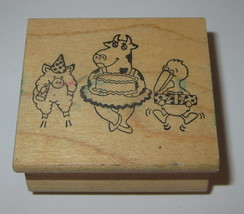 Pig Cow Duck Rubber Stamp Birthday Party Hat Cake Present Jumping Farm Animals - $7.91
