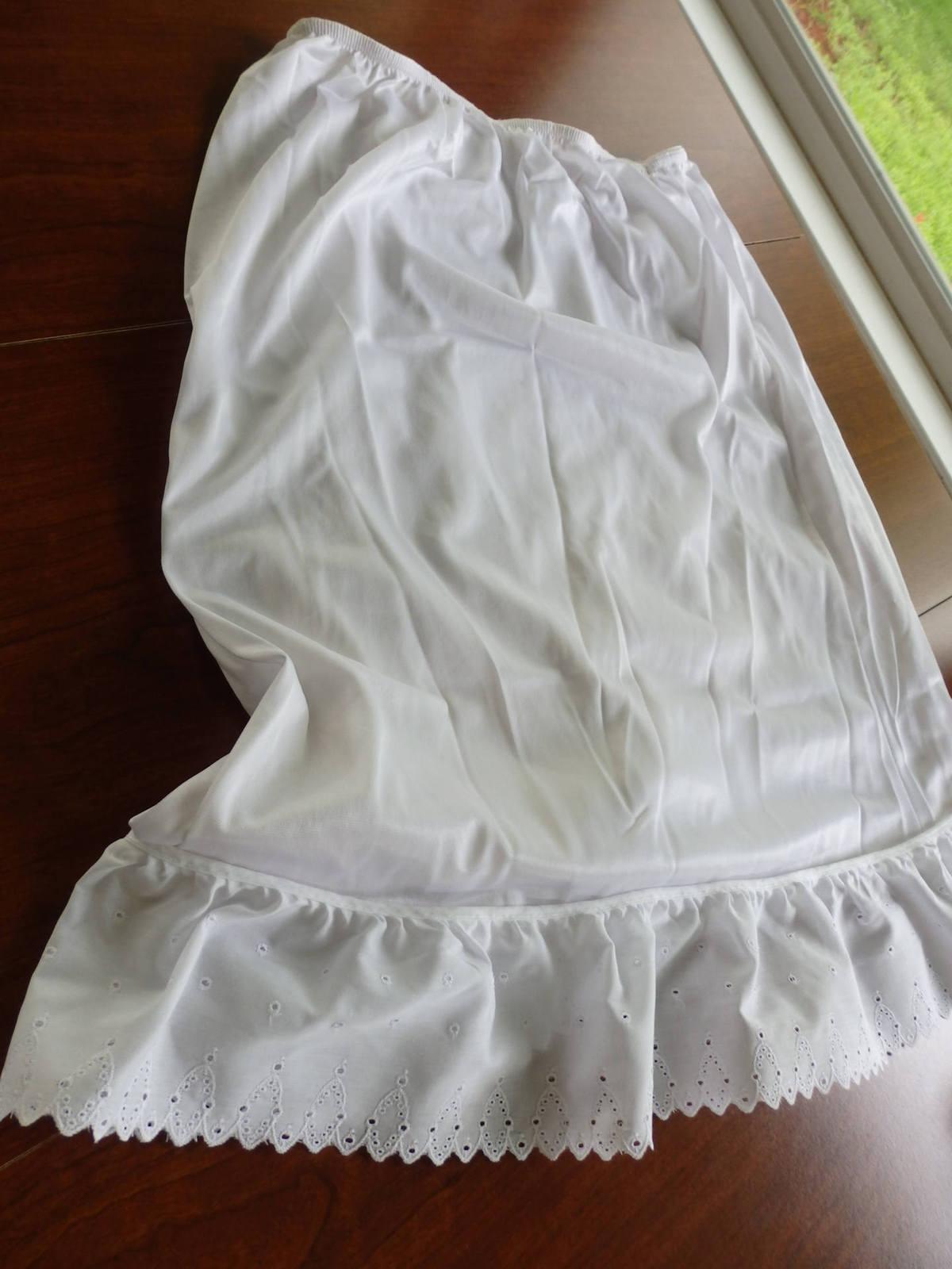 Half Slips, Slip Extenders, Slips,White Eyelet Slips, Eyelet edged skirt, White  image 5