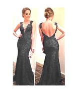 Women Sexy Long Chiffon Lace Evening Party Ball Gown Prom  Black L 8-10 ... - $13.60