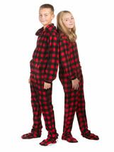 Hoodie Footed one piece Buffalo Plaid Fleece Footed Pajamas for Boys & G... - $39.99