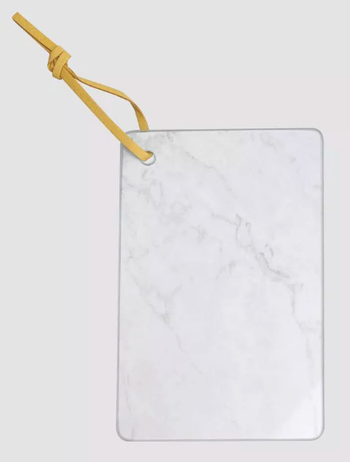 Ankyo 9x6 Inch Glass Marble Looking Cheese Board w Wall Hanging Strap NEW