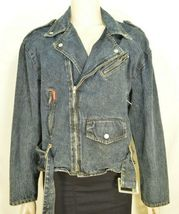 Jordache jeans jacket SZ M denim moto style vintage zippers pockets belt dark image 11