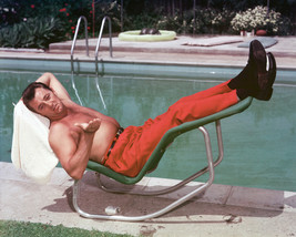 Robert Mitchum 11x14 Photo beefcake bare chested by pool - $14.99