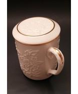 Lenox Mandarin Collection China Coffee Mug With Lid 24K Gold Trim - $19.00