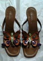 Prada Brown Leather Butterfly Studded High Heel T-Strap Sandals Sz 39 EU... - $39.30