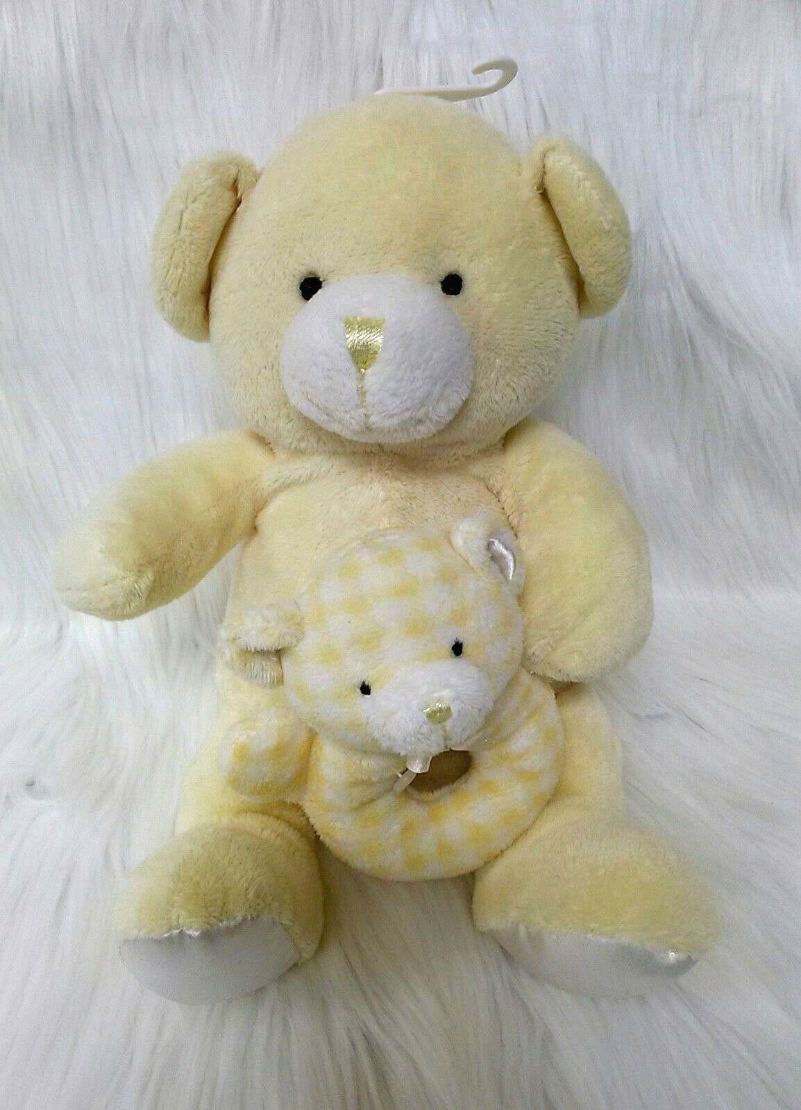 Kids Preferred Bear w Baby Hand Rattle Lovey Yellow Lovey Plush Stuffed Toy B205