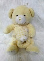 Kids Preferred Bear w Baby Hand Rattle Lovey Yellow Lovey Plush Stuffed Toy B205 - $9.99