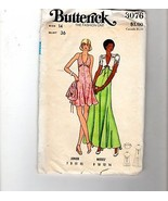 70s Butterick Sewing Pattern 3076 Fit Flare Halter Dress Evening Jacket 14 - $12.38
