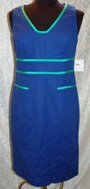 Anne Klein NWT Sleeveless Dress 6 Azure New Summer Form Fitting Blue Sheath - $54.08
