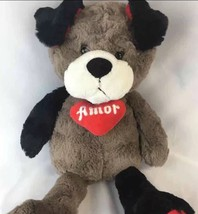 Animal Adventure Plush Teddy Bear Heart Black Grey White Soft 18 1+ Boys... - $6.21
