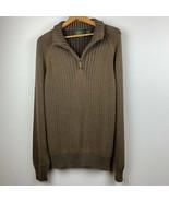 Timberland Mens Sweater M 1/4 Zip Mock Neck Ribbed 100% Cotton Green - B... - $28.86