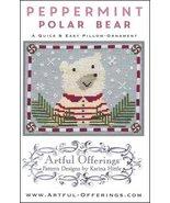 Peppermint Polar Bear cross stitch chart Artful Offerings  - $9.00