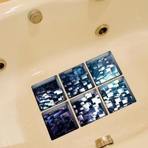 PAG 6pcs 13x13cm Block Pattern 3D Anti Slip Waterproof Bathtub Sticker - $19.30