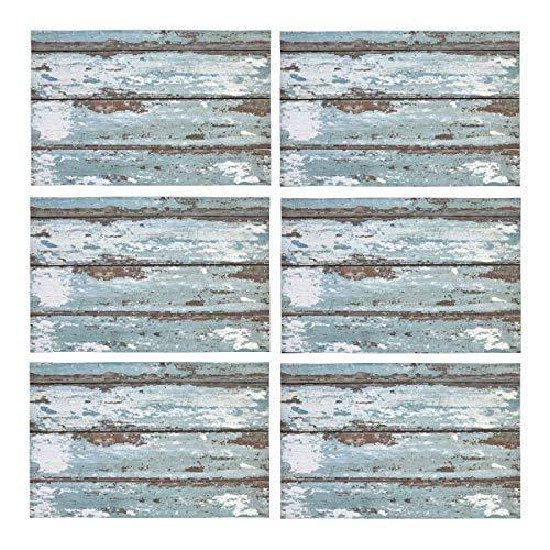 InterestPrint Old Solid Wood Slats Rustic Shabby Polyester Fabric Placemat Plate