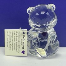 Fenton glass teddy bear figurine birthday stone sculpture February Ameth... - $38.50