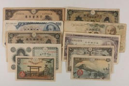 1930-1963 Japan 10-Notes Currency Set // 1, 10, 100, 500, 1000 Yen // 50... - $54.45