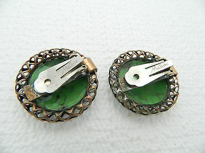 VTG RARE MATISSE Renoir Copper Green Enamel Wreath Clip Earrings