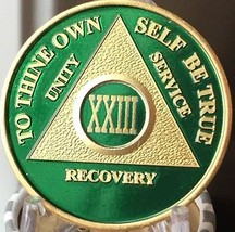 23 Year AA Medallion Green Gold Plated Alcoholics Anonymous Sobriety Chi... - $20.39