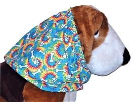 Blue Tie Dye Paw Prints Bones Cotton Dog Snood by Howlin Hounds Size XL - $13.50