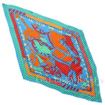 HERMES Pleated Carre PUZZLE Blue Orange Green Silk Scarf Authentic 4961314 - $251.55
