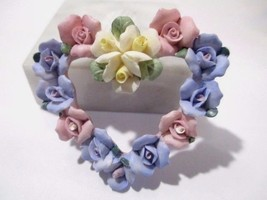 MOLDED LARGE PIN HEART WITH FLOWERS PINK BLUE WHITE FEMININE VINTAGE - $28.00