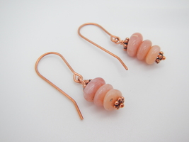 Pink Opal Stack Dangle Earrings, Peruvian Pink Opal Beads, Copper Beads - $18.00