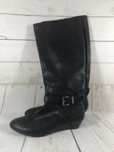 Jessica Simpson Womens Sz 8 1/2 Black Leather Knee High Wedge Heel Buckle - $10.33
