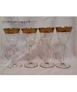 Set of 4 Vintage Tiffin Rambler Rose Clear Crystal  Claret Wine Glasses ... - $59.40